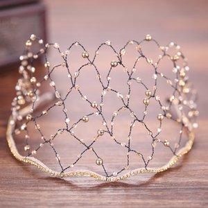Novia diadema Rhinestone cristal perla lujo mujeres boda tocado Tiara aro red malla nupcial Headwear encantos joyería del pelo
