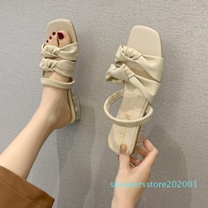 Clear Heels Beige Slippers Women Bow Sandals Transparent Low Heel Pleated Slippers Women Summer Open Toe Elastic Band Sandals s03