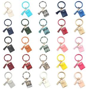 뜨거운 PU 가죽 개의 Tassels 팔찌 지갑 신용 ID 카드 지갑 키 체인 팔찌 가방 여성 동물 인쇄 열쇠 고리 지갑 파티 호의 T2C5231