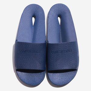 JAYCOSIN hombres huecos zapatillas zapatillas de playa de secado rápido del cuarto de baño del deslizador suave Único zapatos de baño tirón del verano del dedo del pie redondo plano Flops