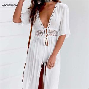 Damen sexy frauen hemd kleider bikini abdeckung strand weiß kleid badewanne strandwear badeanzug sommer designer kleidung