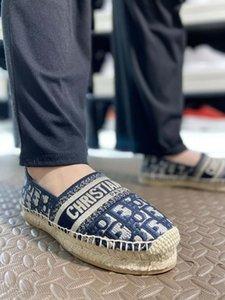2020 Femmes Deep Blue Granville DIOR oblique brodé coton chaussures Espadrilles main en cuir bleu marine semelle unique design de luxe intérieur