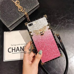Fashion Square Gliter Metal Diamond Bee Silicone Protection phone case for iphone 11 pro max 6s 78 plus XR XS MAX cute cover free DHL
