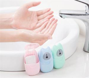 50pcs / caja de papel desechables Jabón viaje portable de la mano de lavado de herramientas en caja de embalaje perfumado Cortar las hojas de papel mini jabón