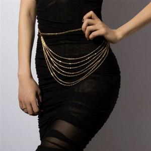 Cinture Retro catena per il vestito Mezzo monili delle donne cinture Tutto-Fiammifero multistrato per il partito cinghie chain Silver Gold Dropshipping