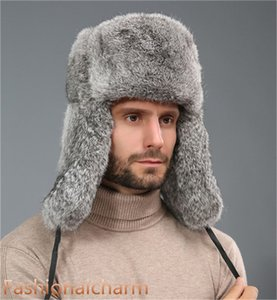 Real Rabbit Fur Hat Россия Ловец Earflap лыжную шапочку Сноуборд Earflap ушанка