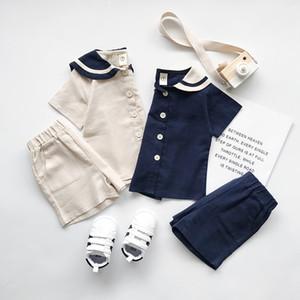 아이 디자이너 옷 여자 소년 여름 세트 100 %면 소녀 육군 스타일 단색 t 셔츠 + 짧은 80-130cm