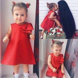 Retail Baby Mädchen Kleider 2019 Rot Große Bogen A-Line Satin Princess Prom Hochzeitskleid Kids Designer Kleidung Kinder Boutique Kleidung