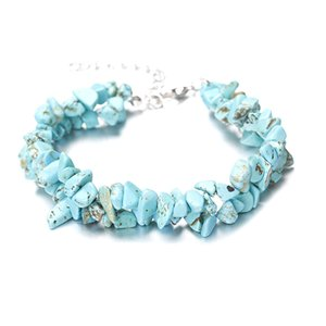 Designer Bracelets Jewelry Natural Crystal Stones of Multi Layers Gravel Strands Elastic Bracelet for Women Gift