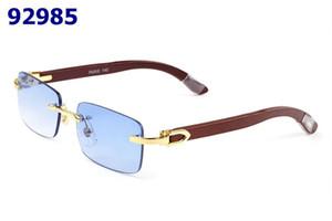 солнцезащитные очки без оправы брендовые дизайнеры мужчины женщины очки белый буйвол рога очки деревянная рамка красный синий зеленый желтый прозрачный фиолетовый линзы с коробкой