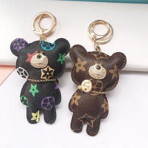 Designer men and women keychain Cute Bear Shape Key Chain Lovely Cartoon Keychain for Girl Print Flower Key Ring Birthday Gift