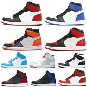 (Avec la boîte) Haute Qualité Haute OG 1 piste rouge Blue Moon Ocre Clay Vert Chaussures de basket Hommes 1s Championnats 6 Anneaux Sneakers