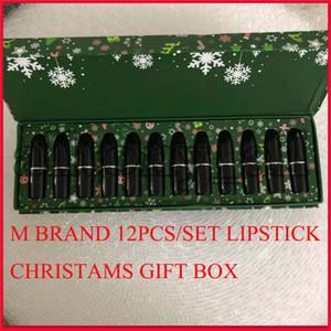 Marca Famosa M maquilla de labio Colección de labios Lápiz labial Navidad Establecer lápiz labial mate 12 colores Snow Lipkit 12pcs / Set