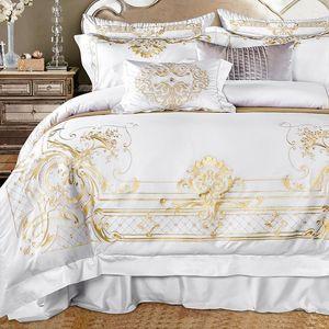 7 قطع الأبيض المصري القطن الفراش مجموعة الملك الملكة حجم السرير مجموعة فاخرة الذهبي التطريز الفراش مجموعات السرير ورقة مجموعة حاف الغطاء