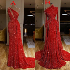 2020 Burgundy comprida feminina Vermelho Lantejoula Mermaid Prom Vestidos alta Dividir Side Evening vestidos de robe de soiree