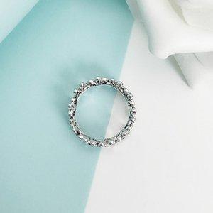 NOVO autêntica prata esterlina 925 mulheres Wedding Ring set Box Original de Pandora CZ Diamante Flores Moda Luxo Anel