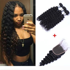 Brazilian Deep Wave Human Virgin Hair Weaves With 4x4 Lace Closure Frontal Bleached Knots 100g pc Natural Color Double Wefts Hair Extensions
