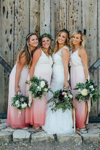 Degrade Şifon Ülke Gelinlik Modelleri Yarık Katmanlı 2019 Düğün Konuk Elbiseleri Onur Hizmetçi Elbise Parti Elbise Için Annelik