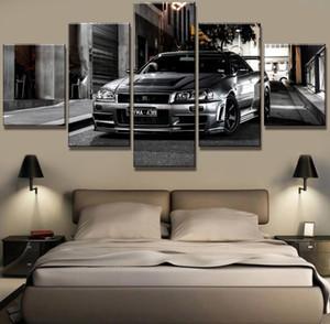 5 peça HD imprimir grandes pinturas Nissan Skyline GT-R Car Modern decorativos em Canvas Art parede para Casa Decorações Wall Decor