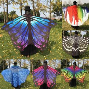 Nuovo chiffon Butterfly Wings Forma Beach Stampa Cover Up Women Colorful mantello dello scialle della sciarpa del Capo amitto Wrap Tippet 197cmx130cm
