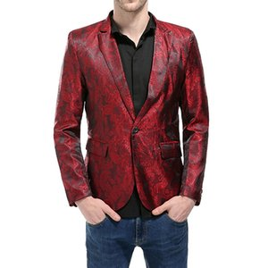 Adeguato Mens Paillettes Blazer Autunno Casual Single Button Slim Fit Suit Blazer Maschio Party Wedding Club Dress Abiti Plus Size