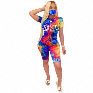 D62916 Tracksuit I Tie-dye T Short Mask SALE Shirt Shorts Sleeves Face Suit Outfits Suit Gradient Color Sports CAN'T Women BREATHE Cqejg