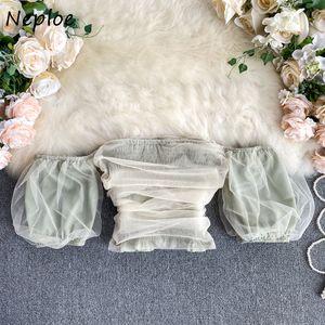 toptan Mesh Bluz Womne Tatlı Chic blusa Moda Shoulderless Slim Fit Kısa Femme 1E190 Tops Boyun Puff Kol Gömlek Slash