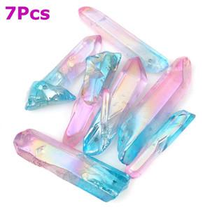 Kiwarm 7 pz rosa blu titanio naturale cristallo di quarzo punti pendente tallone collana pendenti con pendenti fai-da-te artigianato fare 28-45mm c19041101