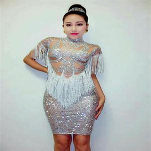 F83 Frauen Bühnenshow trägt Kleider weibliche Diamanten Quaste Tasche Hüfte Rock Sänger Prom Host Ballsaal Kostüme DJ Disco Party Outfit kleiden sexy