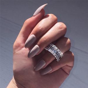 Pôr do sol Boulevard Eternity Promise anel de Diamante 925 anel de Noivado de prata esterlina banda de casamento para as mulheres homens Jóias