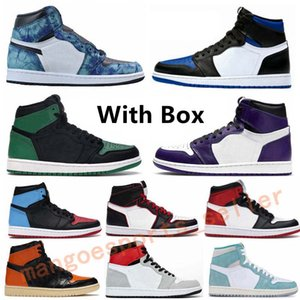air jordan 1 retro Court Femmes Violet Pin Green Mens Basketball Chaussures Royal Game 1 Obsidian sans Peur UNC Bloodline Sports de plein air Chaussures de sport
