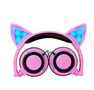Cat Ears Game Kopfhörer mit LED Leuchtet FoLdable Gaming Kopfhörer Katzenkopfhörer für Handy Pad Computer PC