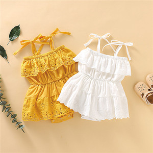 Fashion Baby Girls Gallus Dress Summer Nappy Cojoined Sleeveless Climb Clothes Top Quality Infant Baby One Piece Suit Daily Wearing 2020 Hot
