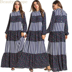 Ethnic Floral Embroidery Women Long Dress Elegant O Neck Long Sleeve Maxi Dresses Stripe Patchwork Arabian Clothes Fall