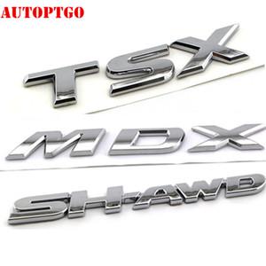 Gümüş Araç Bagaj 3D Harf MDX TSX SH-AWD Amblem Logo rozeti Decal Sticker İçin Acura Arabalar