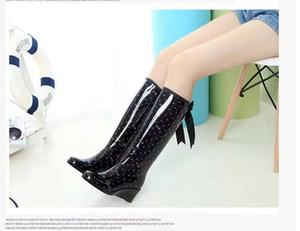 Sıcak Satış-ns yamaç topuk flama yağmur ayakkabı antiskid su ayakkabı su botları heightening uzun tüp uyum overshoes yay fermuar