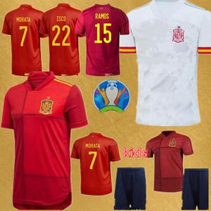 Erkekler + çocuklar españa futbol formaları ispanya 2020 ASENSIO Morata ISCO INIESTA en kaliteli futbol üniforma RAMOS PİKE camisa de futebol İSPANYA