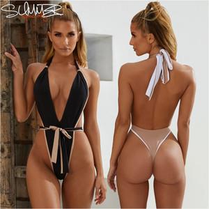 New Sexy Thong Badeanzug de uma peça Mulheres Maios Halter Monokini 2019 Mujer tanga triquini Bademode frente empate sem encosto Solida