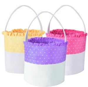 10styles Dot panier de Pâques Lapin Seaux dentelle toile lapin de Pâques rayé vague Sacs Paniers enfants Bonbons fourre-tout cadeau Sacs à main GGA3195-1