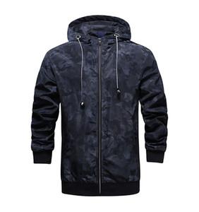 Designer Camouflage Spesso giacche con cappuccio Moda maniche lunghe uomo cappotti primavera Mens Outwear con la chiusura lampo
