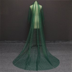Brilhando Long Green Wedding Veil com Glitters Gold Dust Uma Camada 3 metros Cathedral Bridal Veil SEM Comb Voile Mariage