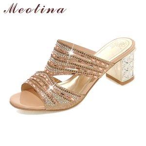 Meotina Designer Chaussures Femmes De Luxe 2018 Femmes Coulisses Bout Ouvert Talons Hauts Strass Pantoufles Eté Pantoufles Or Taille 9 10 11