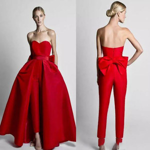 Hot Sale Red Jumpsuit Wedding Dresses With Detachable Train Sweetheart Satin Big Bow Beach Country Styyle Wedding Party Gowns 2020 Cheap