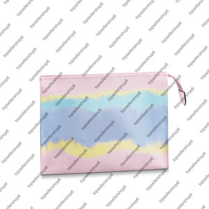 M69137 ESCALE POCHE TOILETTE 26 women canvas tie-dye print designer real Cowhide-leather trim clutch purse handbag wallet bag