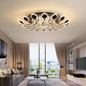 Lampadario a cristallo moderno montato superficie per soggiorno camera da letto stanza da studio bianco / colore nero casa deco Lampadario