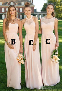 2019 New 2016 Pink Navy Cheap Long Bridesmaid Dresses Mixed Neckline Flow Chiffon Summer Blush Bridesmaid Formal Prom Party Dresses with Ruf