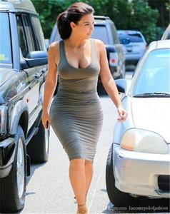 Vestido sin mangas de la cucharada de la manera del verano plisada de las mujeres del cuello de la columna mujeres ocasionales vestido de la manera Vestidos de Kim Kardashian