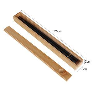 100pcs portátil de bambú natural reutilizable palillos Sushi Caja de almacenamiento de alimentos palillo palillos caja de la caja