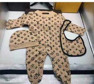 Kleinkind-Säuglingsspielanzug Baby-Designer Kleidung Sets Junge Mädchen Voll Hülsen-weiche Lattice Overall-Spielanzug Hat + Lätzchen 3pcs / set Anzug 0-18 Monate