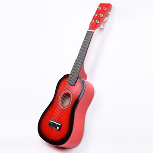 23inch Iniciantes Prática guitarra vermelha acústica com picareta 6 cordas das crianças das crianças Brinquedos Navio dos EUA